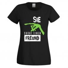 Funshirt weiß oder schwarz, als Tanktop oder Shirt - Sie sucht einen Freund
