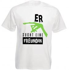 Funshirt weiß oder schwarz, als Tanktop oder Shirt - Er sucht eine Freundin
