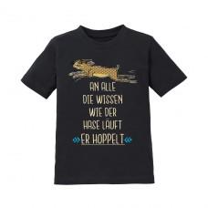Kinder T-Shirt Modell: An alle die wissen wie der Hase läuft - er hoppelt!