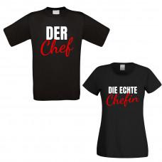 Partner Funshirts weiß oder schwarz - Chef / Chefin