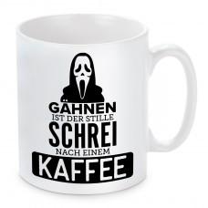 Tasse Modell: Gähnen ist der stille Schrei nach einem Kaffee.