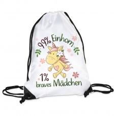 Turnbeutel - 99% Einhorn - 1% Braves Mädchen!