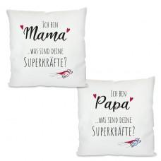 Kissen mit Motiv Modell: Superkräfte - Für Mama oder Papa