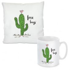 Kissen oder Tasse mit Motiv Modell: Free hugs